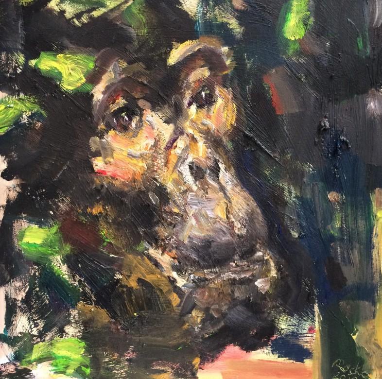 05, Brown Face, Öl auf Leinwand, 40 x 40 cm, 2020