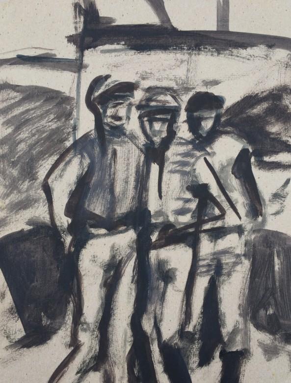 606/ Jockeys, Acryl auf Pappe, 26 x 34 cm, 2003