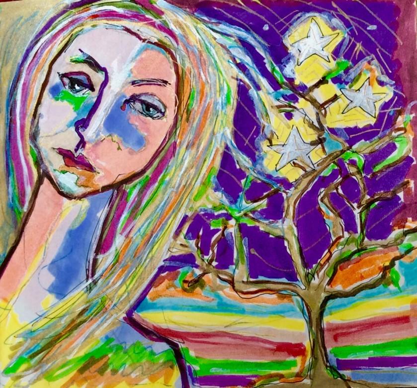 10/ selbstbildnis, mischtechnik auf papier, 16 x 15 cm, 2016