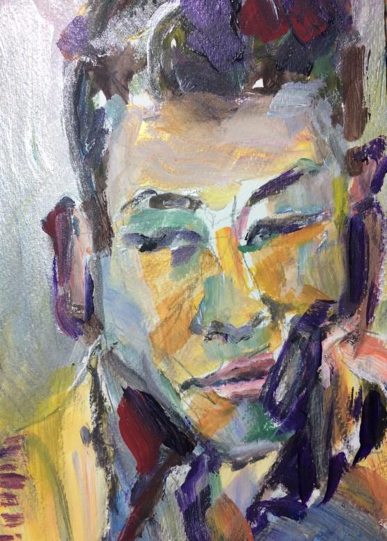 01, Junger Mann, mischtechnik auf papier, 17 x 24 cm, 2017