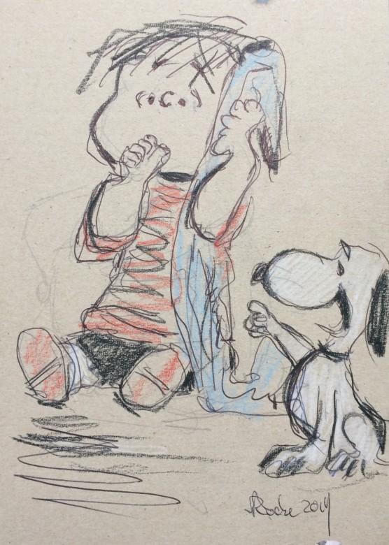311/ Linus und Snoopy, Mischtechnik auf Pappe, 17 x 24 cm, 2019