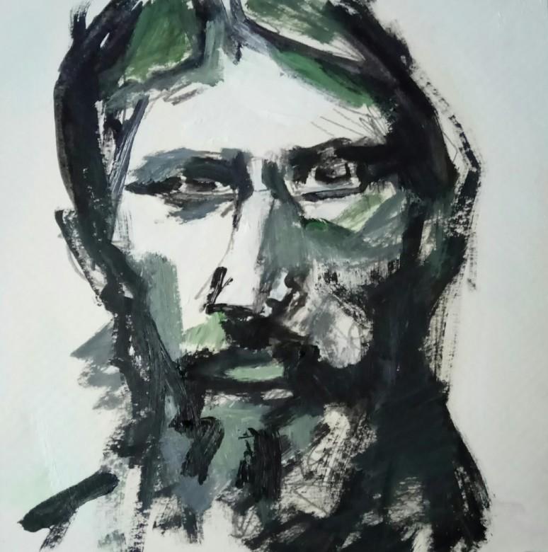 10 / Rasputin, Acryl auf Pappe, 2016