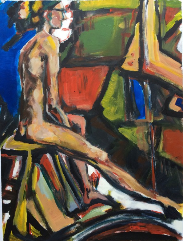 12/ frauenakt, acryl auf papier, 65 x 50 cm, 2000
