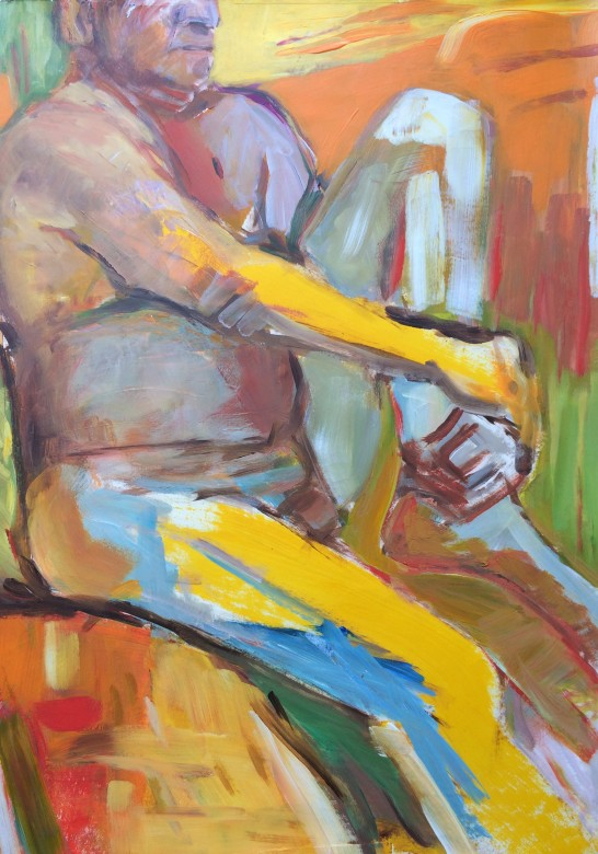 13/ männerakt, acryl auf papier, 65 x 50 cm, 2001