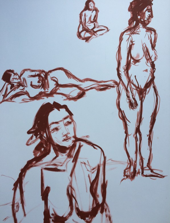 15/ Frauenakt, Acryl auf Papier, 65 x 50 cm, 2001