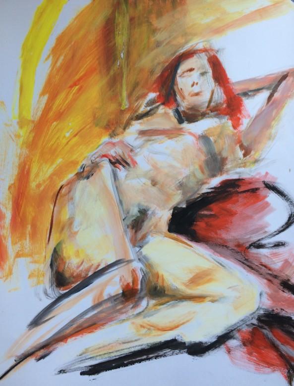 08/  frauenakt, acryl auf papier, 65 x 50 cm, 2000