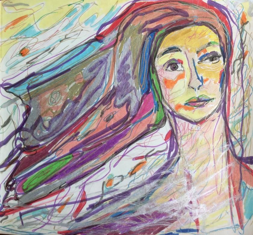 12/ maria magdalena, mischtechnik auf papier, 16 x 15 cm, 2016