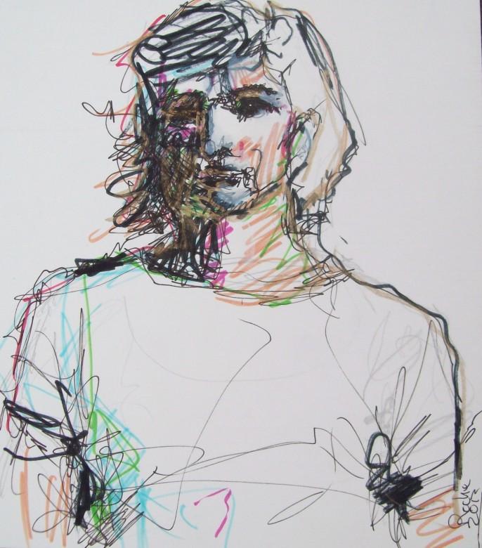 06, jackie kennedy, mischtechnik auf pappe, 18 x 21 cm, 2013