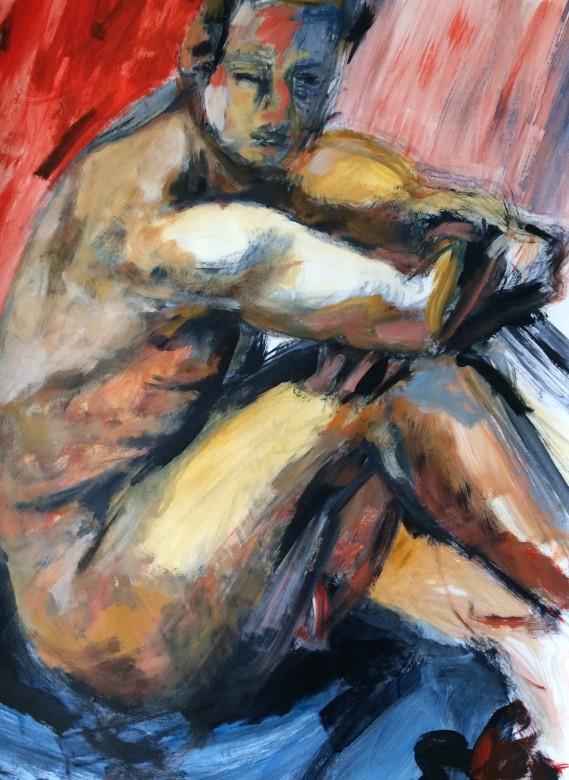 20/ Männerakt, Acryl auf Papier, 65 x 50 cm, 2002