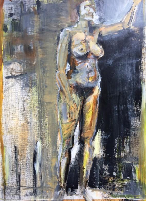 02/ frauenakt, acryl auf papier, 65 x 50 cm, 1999