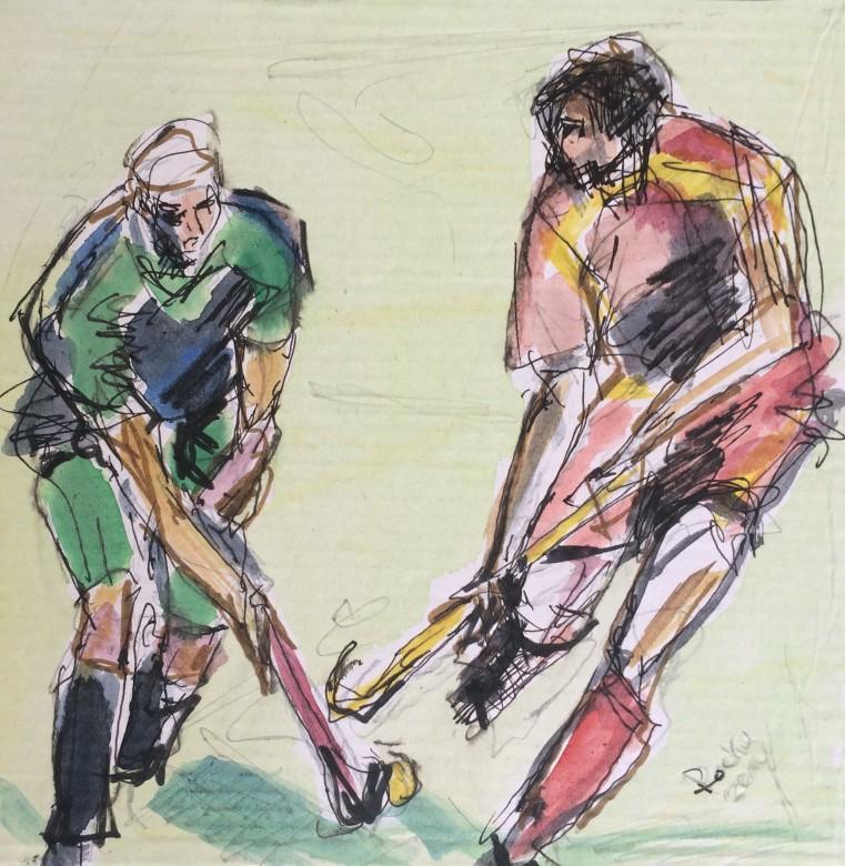 408/ Hockey, Mischtechnik auf Pappe, 20 x 20 cm, 2014