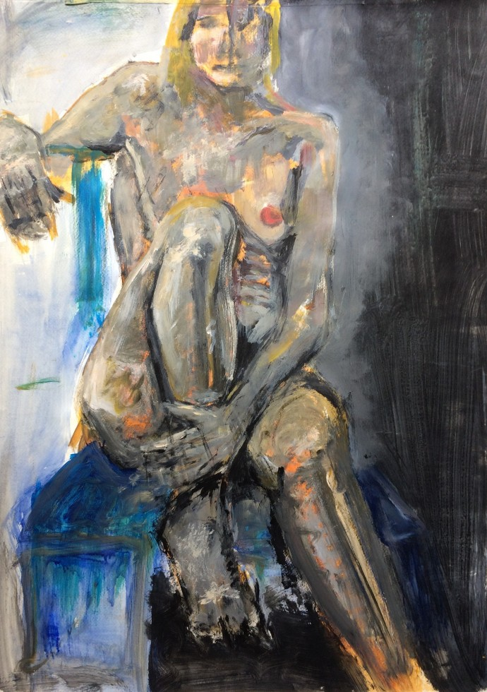 01/ frauenakt, acryl auf papier, 65 x 50 cm, 1999