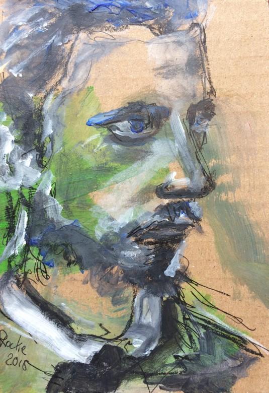 12 / Rilke, 9 x 12,5 cm, Mischtechnik auf Papier, 2015