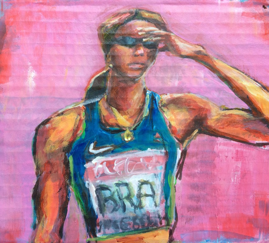 404/ Usain Bolt, Acryl auf Karton, 17 x 16 cm, 2013