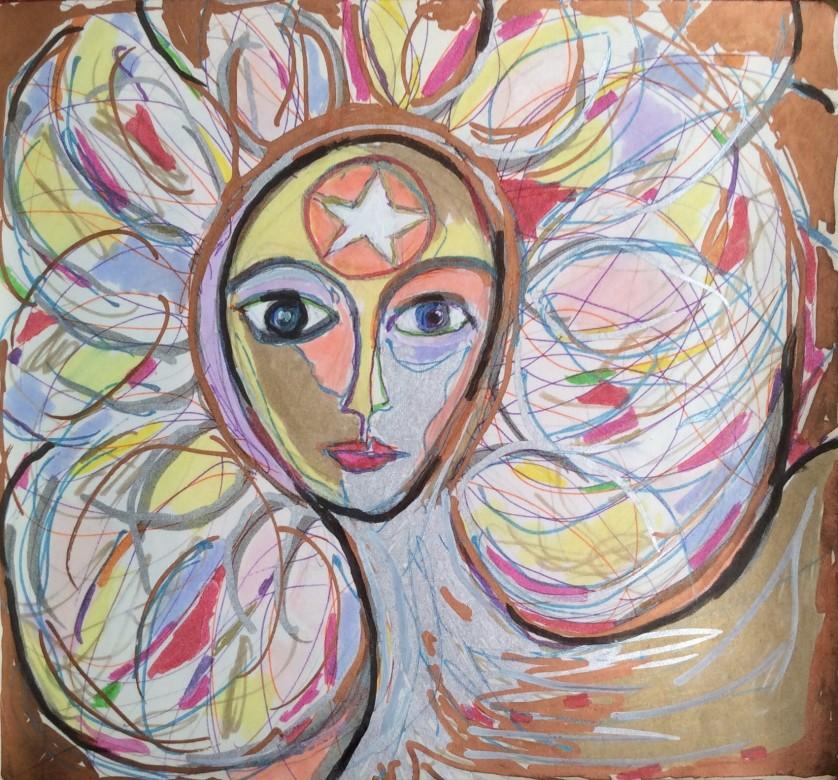 01/ der heilige geist, mischtechnik auf papier, 16 x 15 cm, 2016
