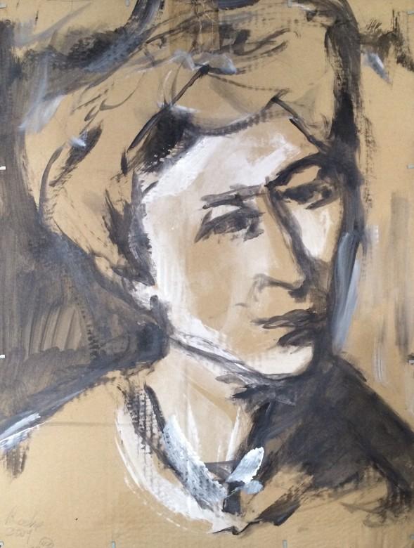 18, frauenportrait, mischtechnik auf karton, 40 x 53 cm, 2009