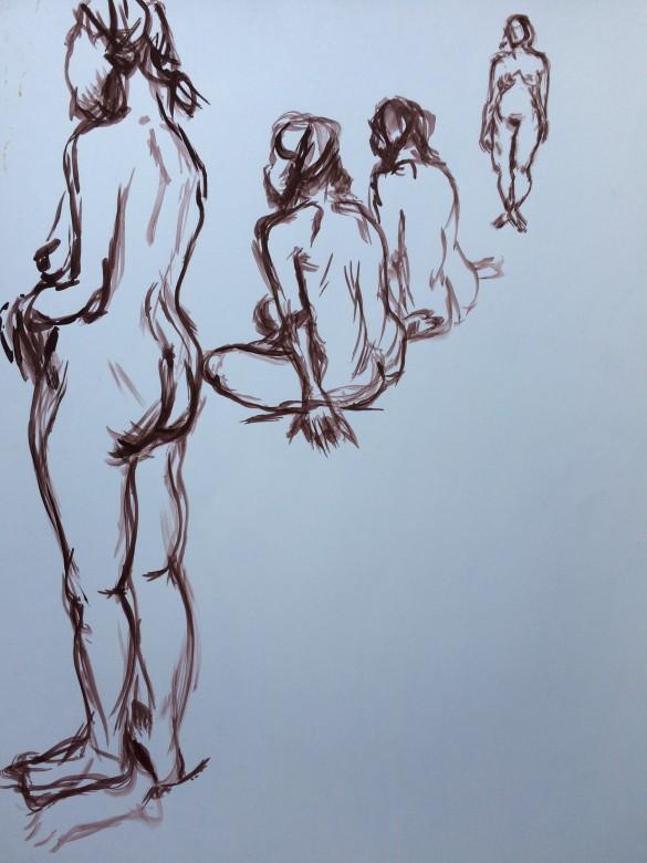17/ frauenakt, acryl auf papier, 65 x 50 cm, 2001