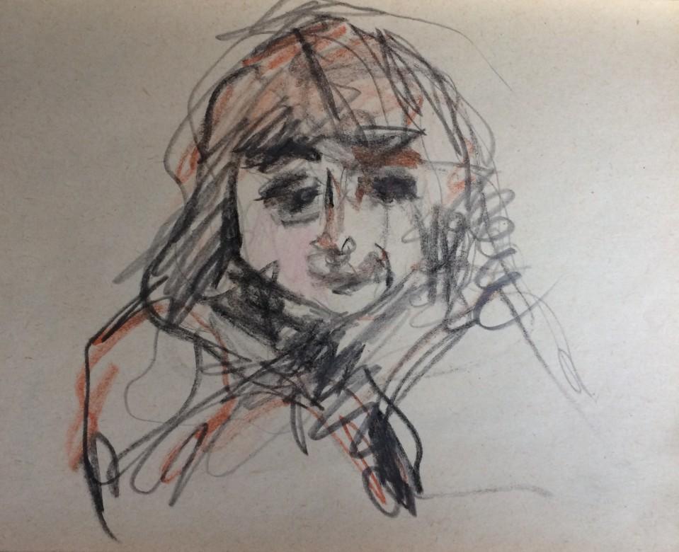 04, kleines mädchen in armut, mischtechnik auf papier, 14,5 x 10 cm, 2019