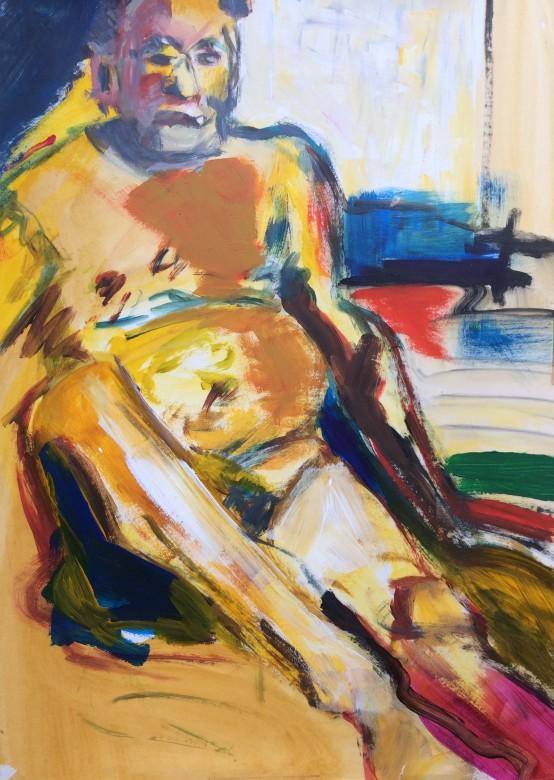 19/ männerakt, acryl auf papier, 65 x 50 cm, 2001