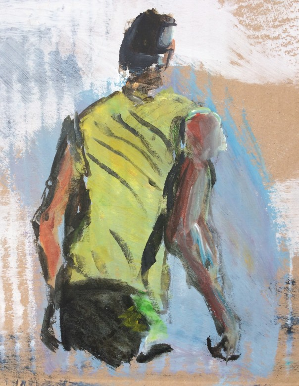 401/ Usain Bolt, Acryl auf Karton, 16 x 20 cm, 2013